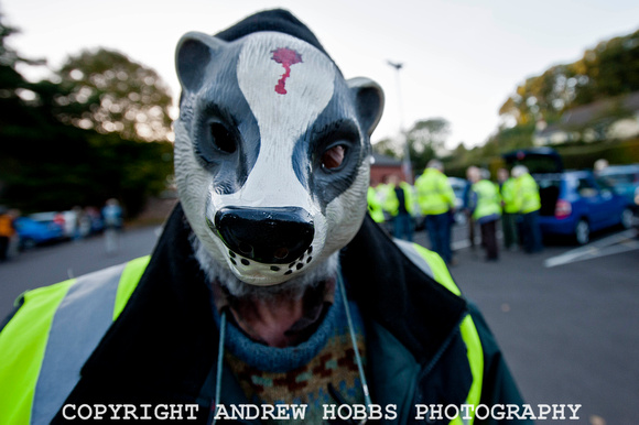 Cull protester in Dunster October 2012