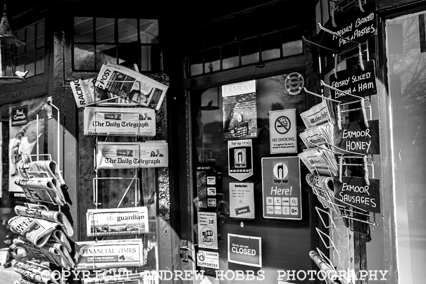 News papers on sale at the Exford village shop.