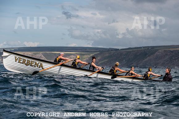 Appledore ladies rowing at the recent Port Isacc regatta.